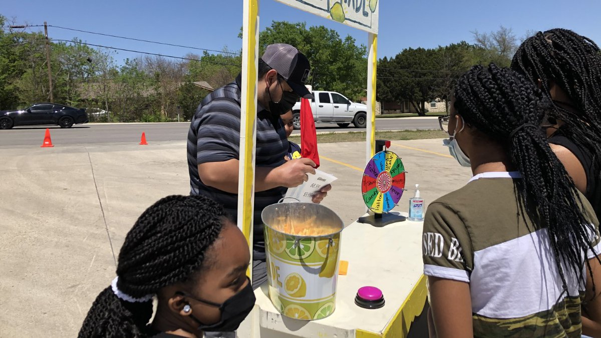 A handful of children got some very helpful tips on how to build a lemonade stand in Harker...