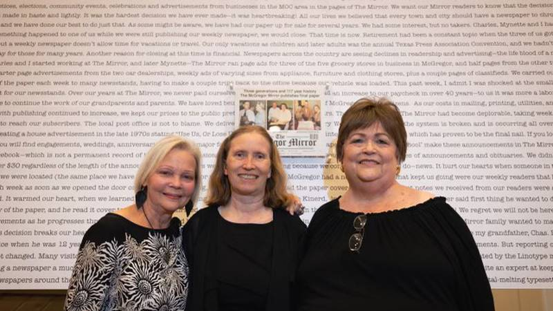 The owner/editors of The McGregor Mirror, Mynette Mooney Taylor and Bonnie Mooney Mullens, with...