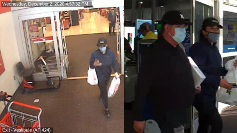 Police are looking for two suspects in a stolen credit cards case.
