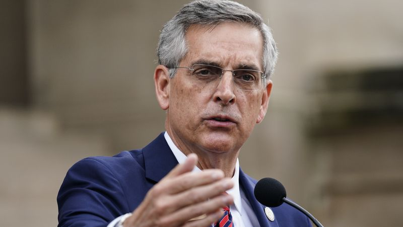 Georgia Secretary of State Brad Raffensperger speaks during a news conference on Wednesday,...
