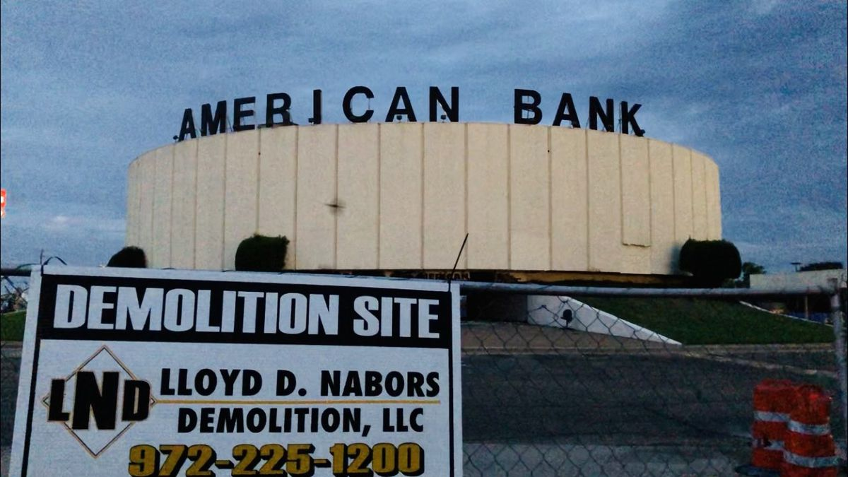 Demolition of the American Bank location in Bellmead started Tuesday.