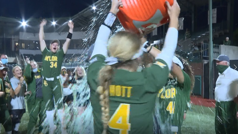 Baylor Softball pours Gatorade on Glenn Moore after he gets his 800th win with the program...
