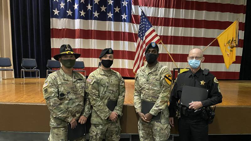 Three Fort Hood soldiers were recognized by the Bell County Sheriff's Office with the...