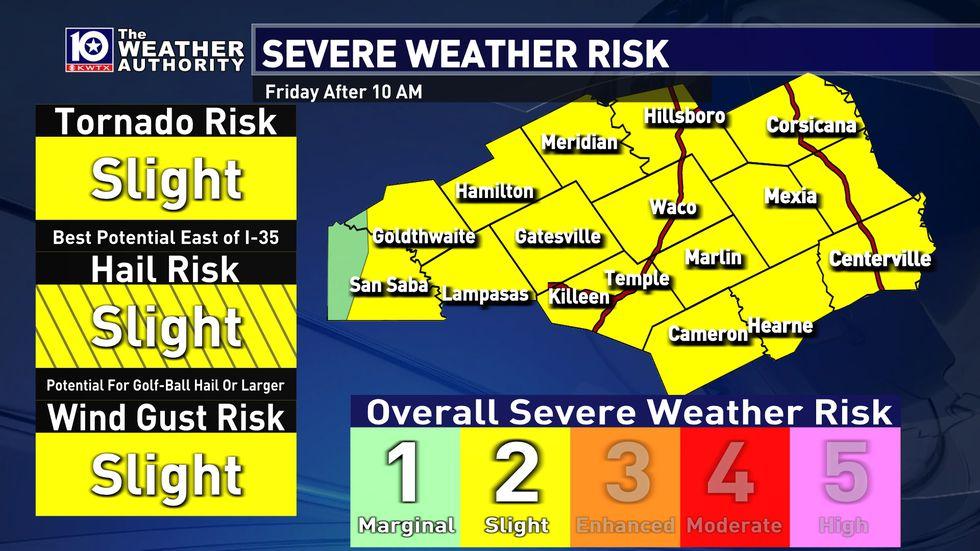 The Storm Prediction Center has placed nearly the entire area under a slight risk (level 2 of...