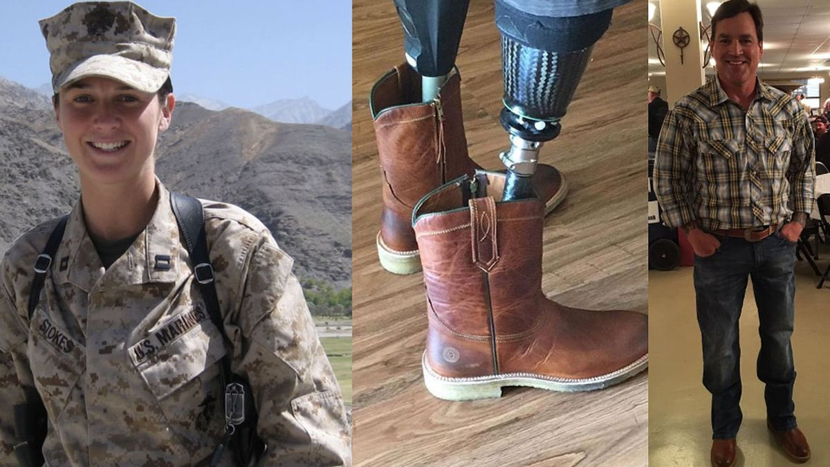 Marine Corps veteran and Harvard graduate Sarah Ford founded Ranch Road Boots in 2012.  The company's custom boots can be modified so amputees can get them on a prosthesis. (Courtesy photos)