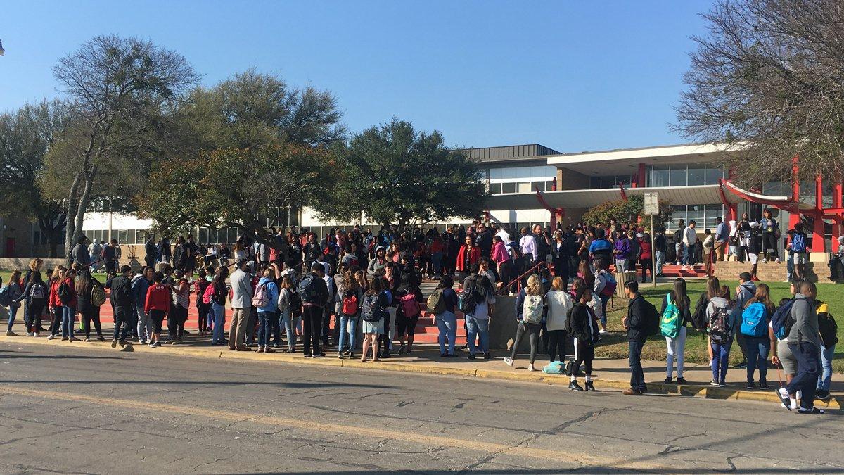 The walkout at Waco High School.  (Photo by John Carroll)