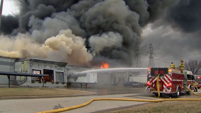 Three workers were injured as a massive Texas foam recycling plant fire burned all day and into...