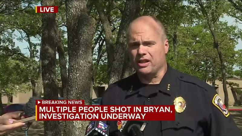 Bryan Police press conference after shooting at Kent Moore Cabinets