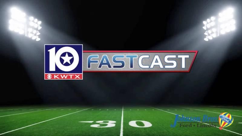 fastcast football Friday night lights field turf sidelines sideline 50 yard line high school...