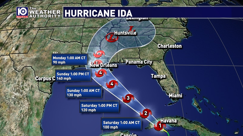 The latest track on Ida is in and it has the storm striking Louisiana Sunday night as a...