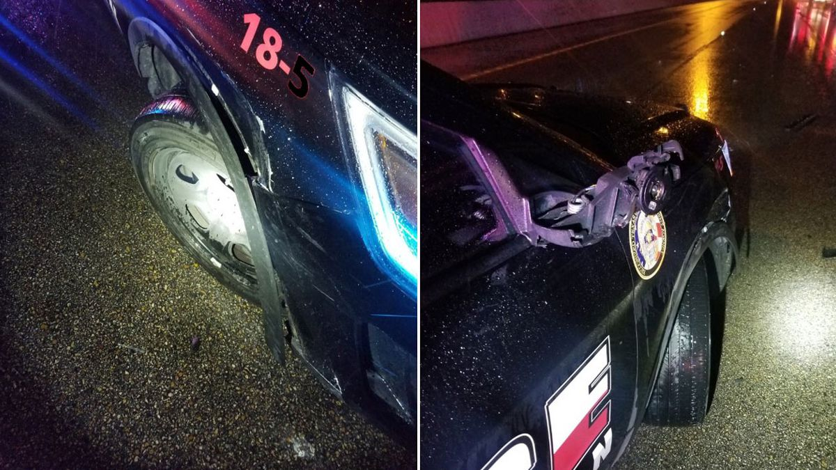 A Belton police officer who was injured when his patrol unit was struck Wednesday morning at an accident scene in the 1600 block of north Interstate 35 was taken to a local hospital. (Belton Police Dept. photos)