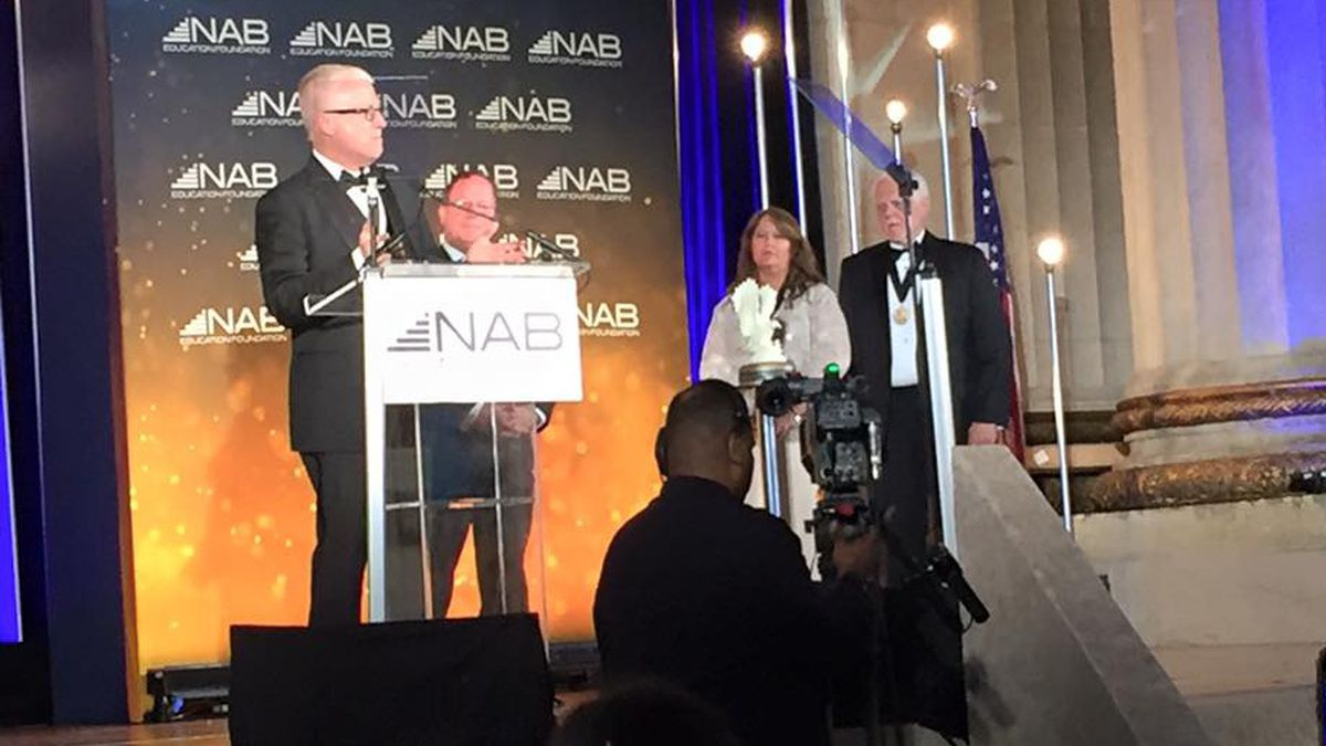 KWTX-TV VP/GM Mike Wright accepts the NAB's Service to America Award, presented in Washington...