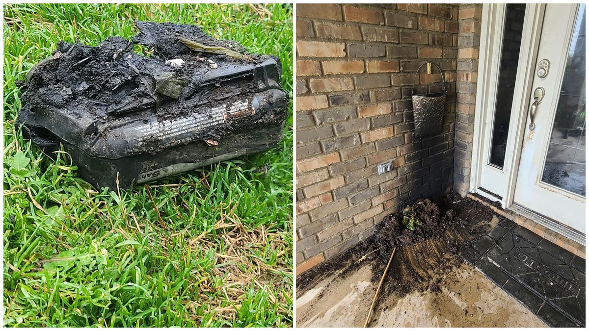 Exploding 40 volt Lithium battery delivered fireball scorching the exterior wall of home.
