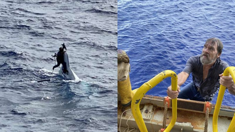 Stuart Bee, 62, was rescued after clinging to his vessel more than 80 miles from the Florida...
