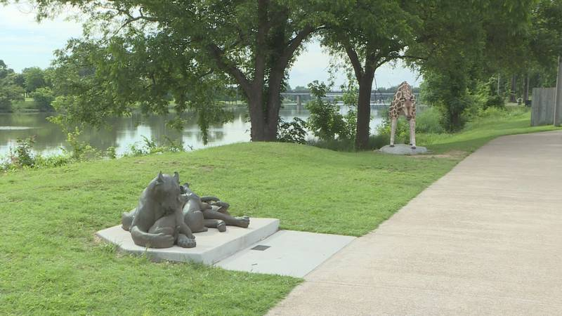 The statues along the Riverwalk in Waco are just one example of public art in the city.