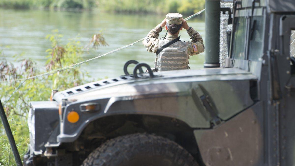This April 10, 2018 photo provided by the Texas Military Department shows a soldier from the...