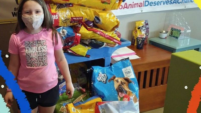 Leighton Kyle, a second grader at Robinson Elementary School, was able to drop off around 200...