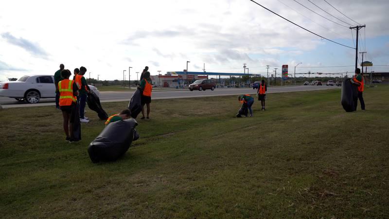 Ellison High School JROTC conducts community clean-up efforts.