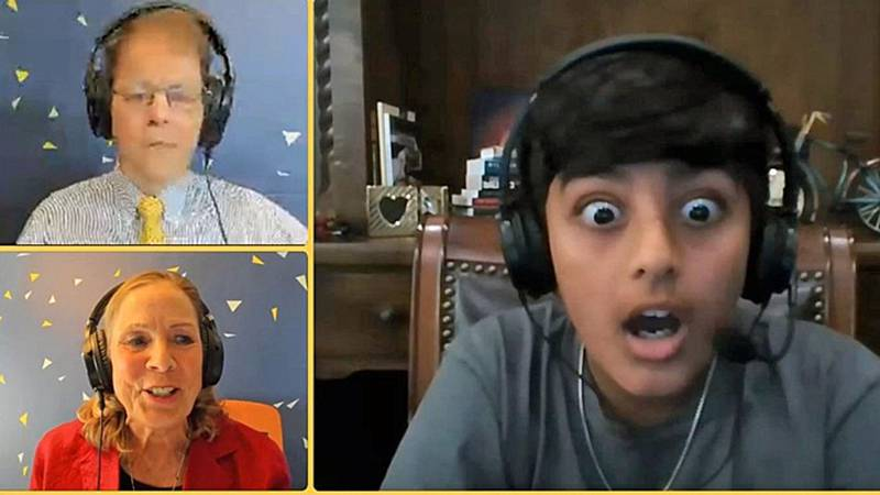 """A webcam captured the reaction of Vihaan Sibal, 12, who admits he """"was in shock for a little..."""
