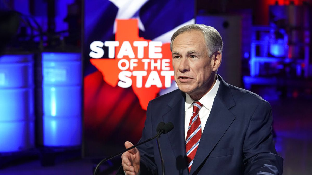 Texas Gov. Greg Abbott prepares to deliver his State of the State speech at Visionary Fiber...