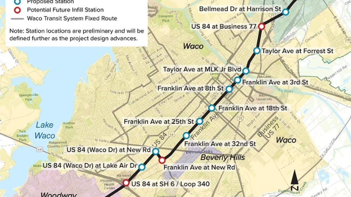 The proposed Waco Bus Rapid Transit Route would go from Lacy-Lakeview to Woodway.