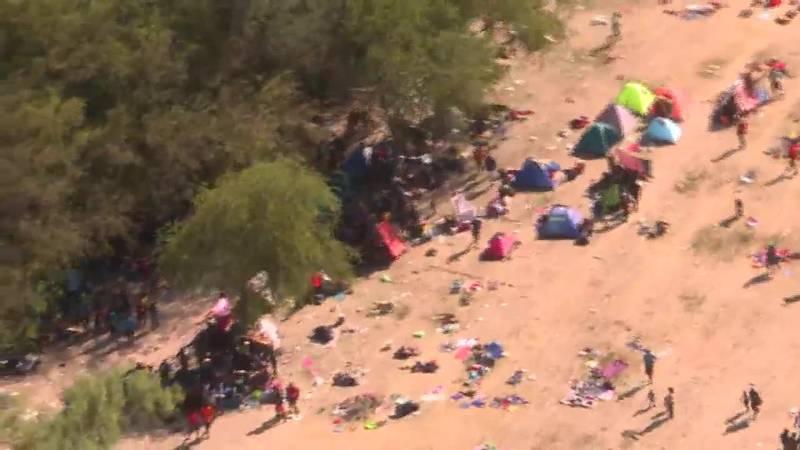 Aerial footage shows thousands of migrants camped under a bridge in Del Rio, Texas.