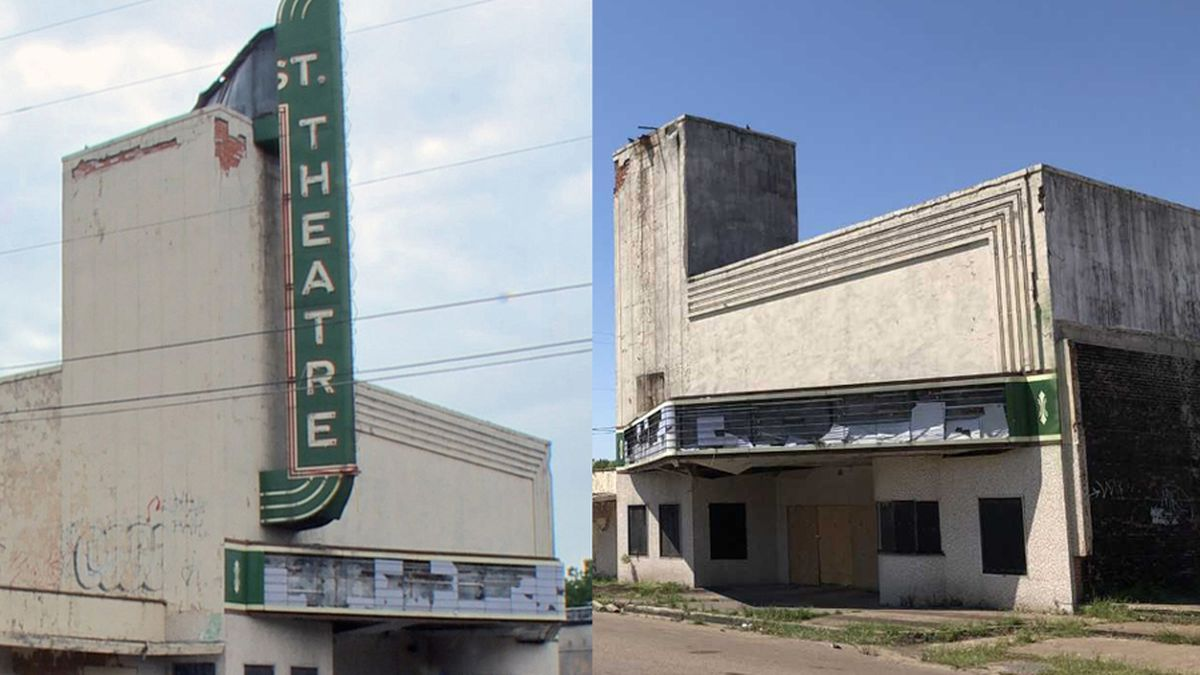 The vertical sign on Waco's 25th Street Theatre (left) posed a safety hazard and was removed (right).  (Staff photos)