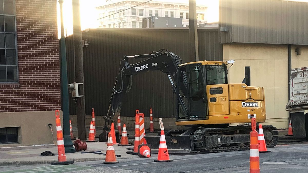 An intersection in downtown Waco was blocked off Thursday evening after a construction crew hit...