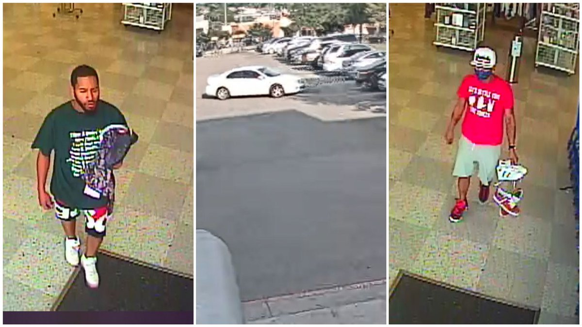 The two men left the store in a white Ford Fusion after the robbery on May 5.