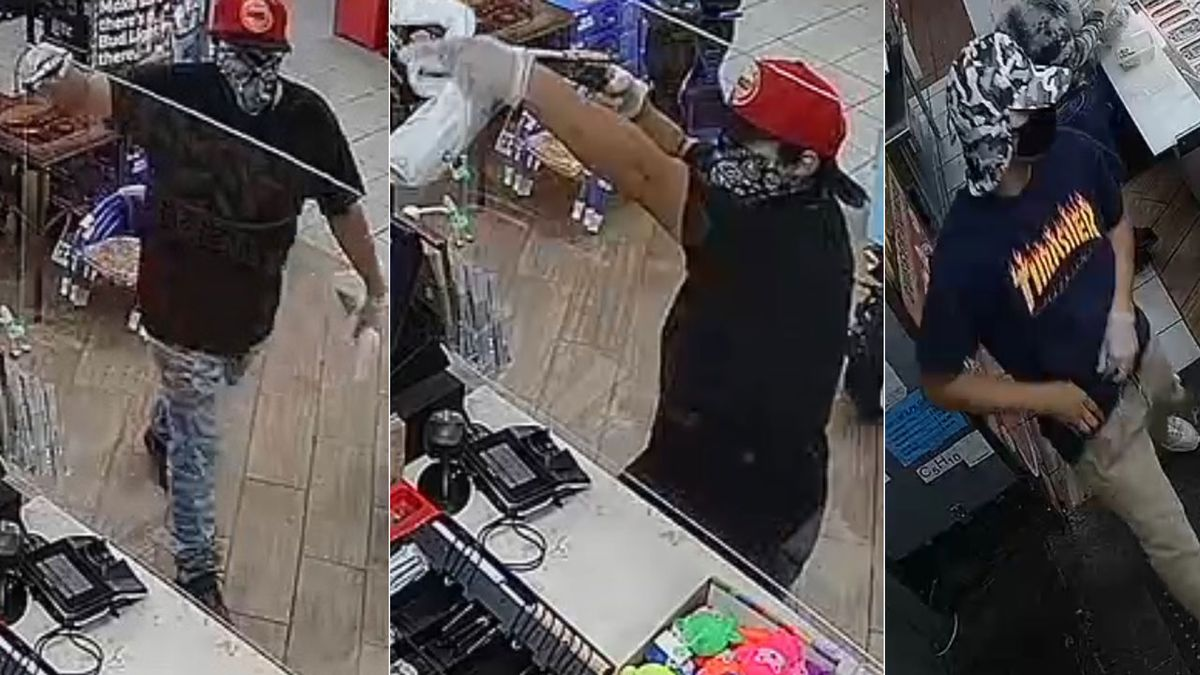 Authorities were looking for three suspects Thursday after a local truck stop was robbed at gunpoint. (Surveillance images/McLennan County Sheriff's Office)