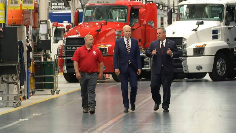 President Joe Biden takes a tour of the Lehigh Valley operations facility for Mack Trucks in...