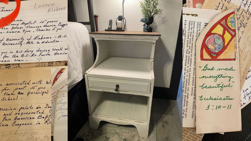 Autumn Outlaw bought two bedside tables about five years ago, but the papers hidden in the back...