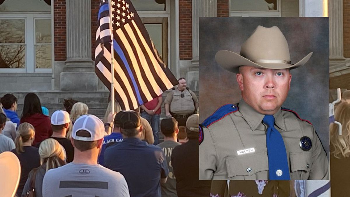 Residents in Groesbeck held a vigil for Texas State Trooper Chad Walker last week.