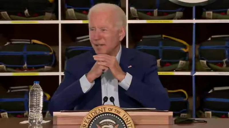 President Joe Biden speaks during a briefing from fire agency officials in Boise, Idaho.