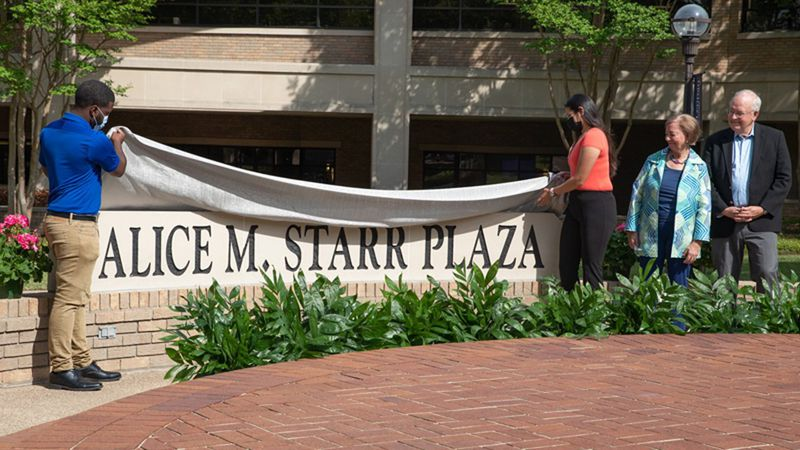 Alice M. Starr Plaza was unveiled on the McLennan Community College campus.