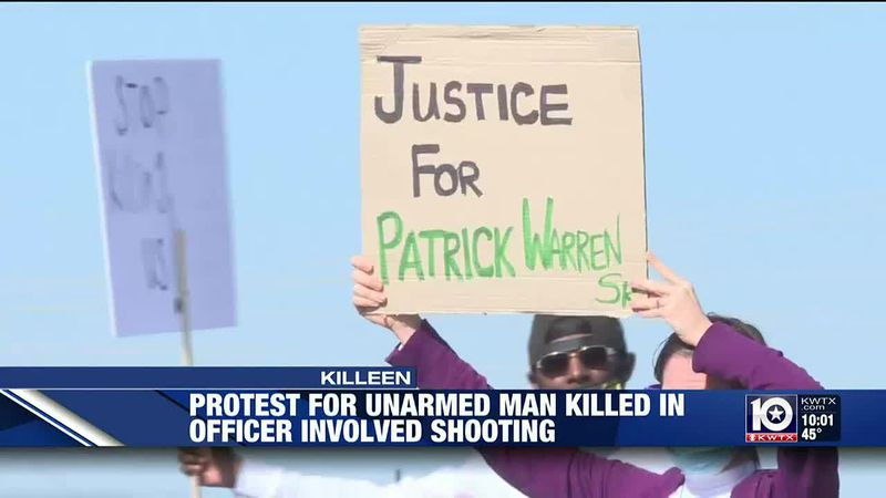Friends and neighbors of Patrick Warren Sr. gathered to grieve and protest his death at Killeen...