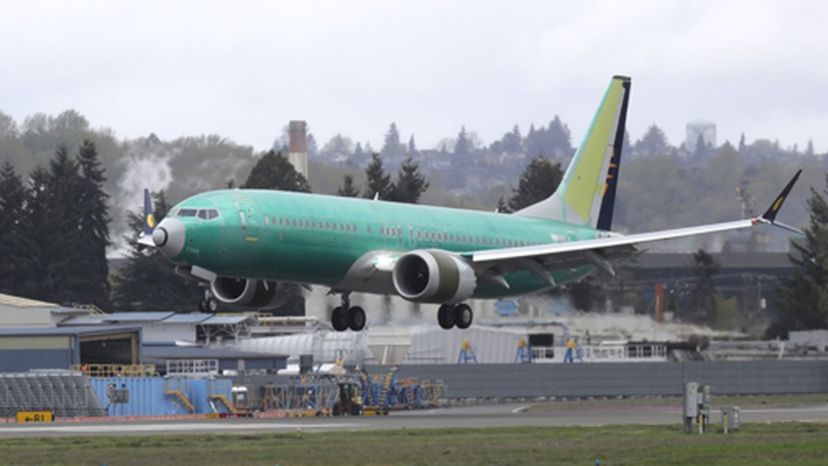 In this April 10, 2019 photo, a Boeing 737 Max 8 airplane being built for India-based Jet...