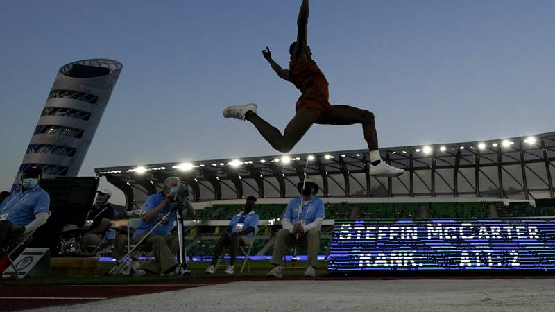 Steffin McCarter competes during the finals of the men's long jump at the U.S. Olympic Track...