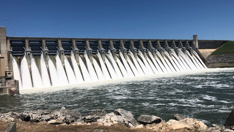Water being released from Lake Whitney.  (Corps of Engineers photo)