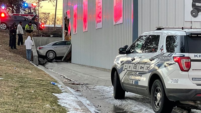 A car ended up inside a local Harbor Freight store Friday evening after a two-vehicle collision.