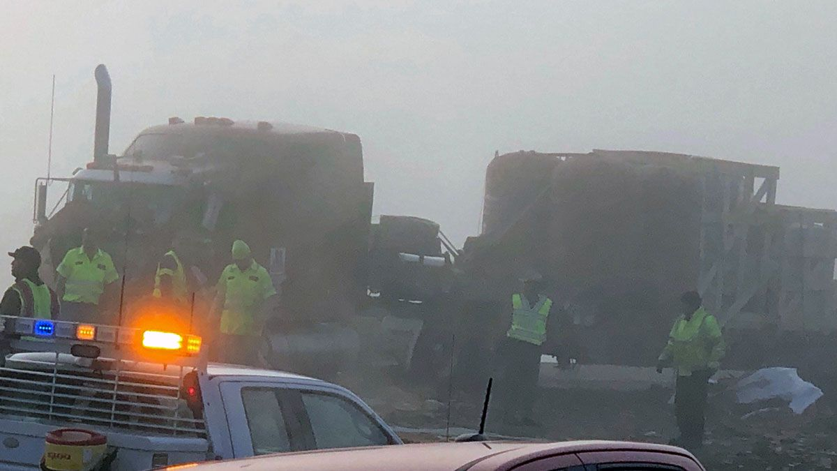 Heavy fog was a factor in the crash. (Photo by Alex Gibbs)