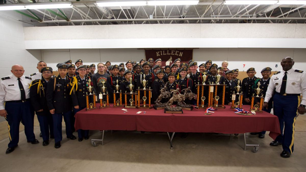 Fort Worth ISD JROTC leaders delivered the grand champion trophy and individual event medals and trophies to the battalion. (Photo Courtesy Killeen ISD)