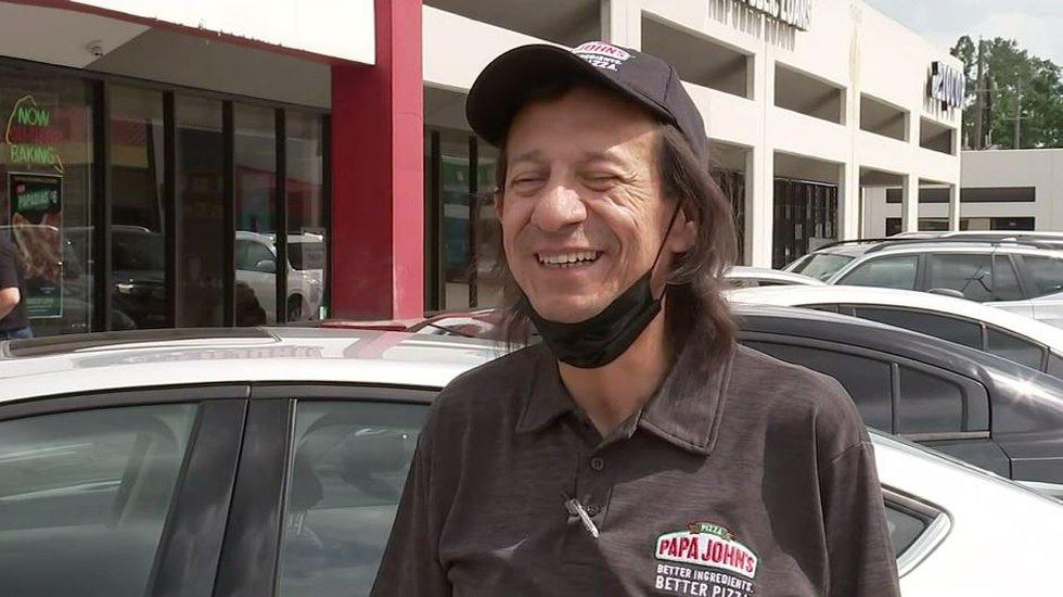 Isaac Sanchez, a delivery driver for Papa John's, says he is extremely grateful after the...