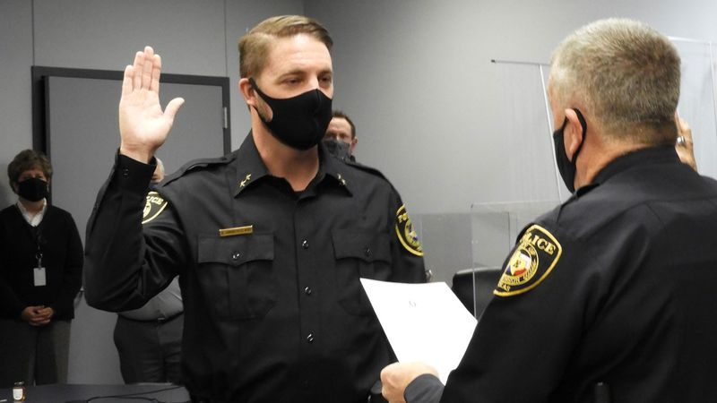"Robinson police Chief Richard ""Rich"" Andreucci was sworn in Tuesday."