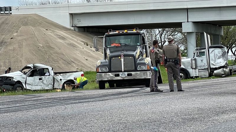 The pickup and 18-wheeler collided early Tuesday afternoon.