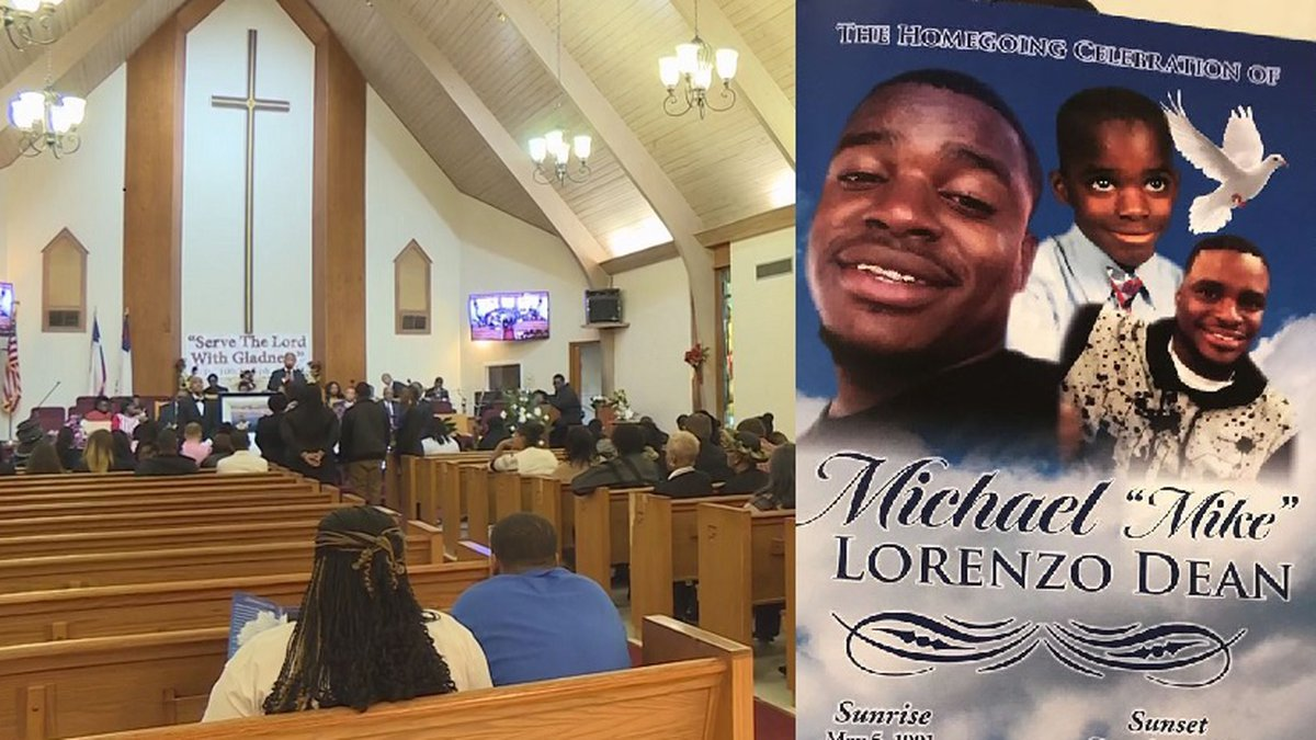 Funeral services are held for Michael Dean, 28, after being shot and killed by a Temple police...