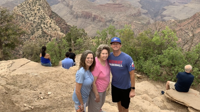 Nick Wright with his grandmother Dorothy and aunt Debbie at the Grand Canyon.