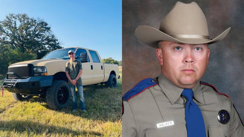 Ethan Walker (left)  with the pickup his father (right) bought for him before he was killed.