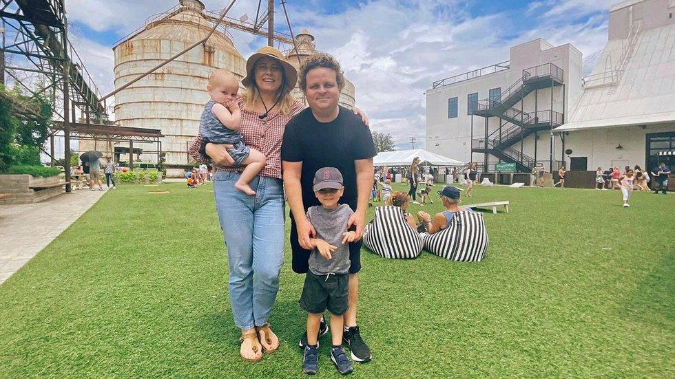 Patrick Renna and his family at the Magnolia Silos.