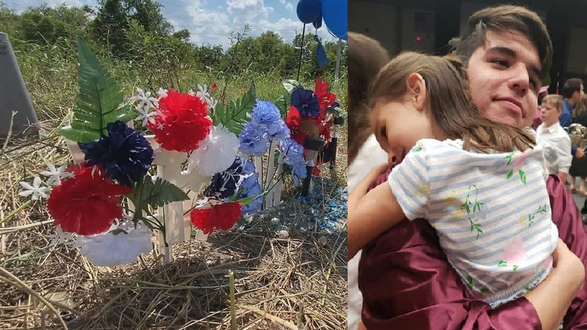 A makeshift memorial (left) marks the scene of a two-vehicle crash that claimed the life of...
